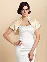 cheap -Short Sleeve Satin Wedding / Party Evening With Rhinestone Coats / Jackets