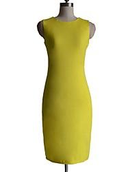 Kvinders Sexy ensfarvet lange Tilbage Zipper Pencil Bodycon Midi Dress