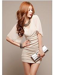 Meina New coreano di estate di stile del Halter sexy spalle chiffon pieghettato il vestito