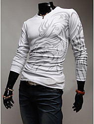 Long Sleeve T Shirt LangTuo rotonda European Fashion Collar Tattoo (bianco)