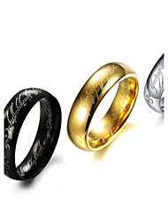 cheap -Rings Fashion Stainless Steel Gold/Silver Band Rings 3 Colors Letter Rings Black Jewelry  for New Year Gifts