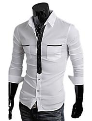 billige -Herre-Ensfarvet Chic & Moderne Skjorte