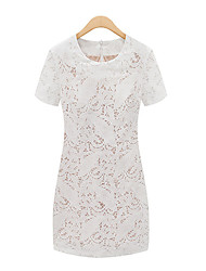 cheap -Women's Street chic Sheath Dress - Solid Colored, Lace