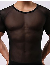 cheap -Men's White/Black underwear Sexy Net Yarn Transparent Short Sleeve