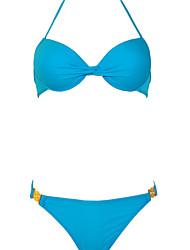Žene Jednobojni Na vezanje oko vrata Bikini Kupaći kostimi Jednobojno Obala žuta Fuksija Plava