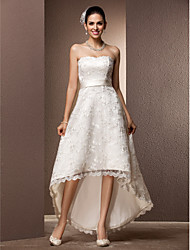 cheap -A-Line Sweetheart Asymmetrical Lace Custom Wedding Dresses with Sash / Ribbon by LAN TING BRIDE®