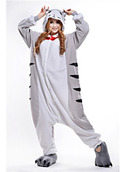Kigurumi Pajamas Cat Chi's Sweet Home/Cheese Cat Onesie Pajamas Costume Polar Fleece Gray Cosplay For Adults' Animal Sleepwear Cartoon