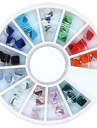 36pcs mélanger la couleur 4mm cube carré clou strass en cristal de roue de décoration d'art