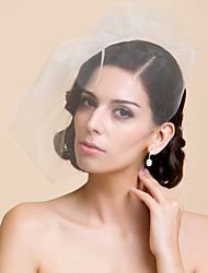 Wedding Veil One-tier Blusher Veils Cut Edge 10-20cm Tulle White Ivory A-line, Ball Gown, Princess, Sheath/ Column, Trumpet/ Mermaid
