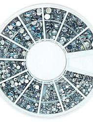 120PCS Mix 4 Size Bling Crystal AB Acrylic Rhinestones Wheel Nail Art Decoration