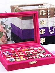 baratos -Caixas de Jóias Pérola Flanela Vidro Forma Geométrica Cor de Rosa Café Preto Púrpura Cinzento