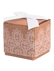 cheap -Cubic Card Paper Favor Holder with Lace Favor Boxes - 12