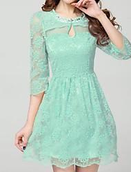 Ženska Dame Slim Okrugli vrat Solid Color izrezati čipke haljina bez rukava