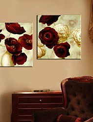cheap -Stretched Canvas Art Painting Flowers Set of 2