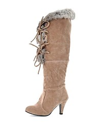 cheap -Women's Shoes Faux Fur Fall Winter Chunky Heel Knee High Boots Lace-up For Dress Black Beige