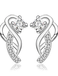 lureme® Fashion Style Silver Plated Link Shape with Zircon Stud Earrings