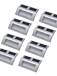 8pcs 4LED Solar Powered Stairway Pathway Step Wall Mounted Light Lamp Stainless steel