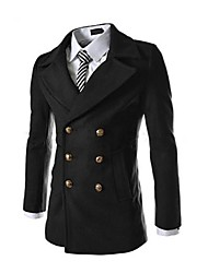 economico -Zian® Men's Stand Collar Fashion Casual Duplex Tweed Trench Coat With Pleating Detail O