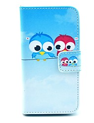 billige -COCO FUN ® Cute Owl Mønster PU Læder Full Body Case med Screen Protector, Stand og Stylus til iPhone 4/4S