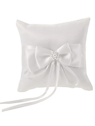 Ivory Ring Pillow In White Bowknot Satin With Faux Pearl Wedding Ceremony