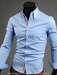Недорогие -tizeland мужская лацкане шеи сплошной цвет рубашка с длинным рукавом