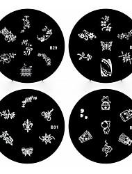 1pcs nail art estampage estampille l'image modèle plaque b série no.29-32 (modèle assortis)