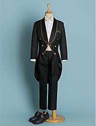 Недорогие -Цвет слоновой кости Черный Полиэстер Детский праздничный костюм - 5 Включает в себя Куртка Брюки Широкий пояс Рубашка Бабочка