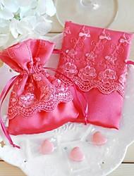 porte-favoris cuboïde en soie avec lacets favoris sacs-12 faveurs de mariage