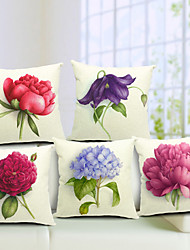 cheap -5 pcs Cotton/Linen Pillow Cover, Floral Country
