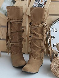 cheap -Women's Shoes Suede Fall / Winter Slouch Boots Wedge Heel 35.56-40.64 cm / Knee High Boots Ruffles / Lace-up Black / Pink / Brown