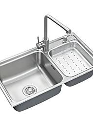 Недорогие -Современный Прямоугольный Раковина Материал является Нержавеющая сталь кухонный умывальник / кухонный смеситель / водосток для кухни