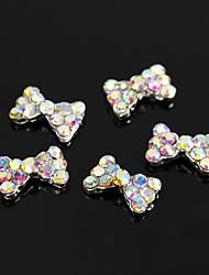 10pcs clássico ab strass cristal bowknot liga 3d arte decoração de unhas