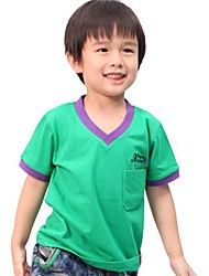 preiswerte -Boy's V Neck Solid Color Cotton Short Sleeve Tees