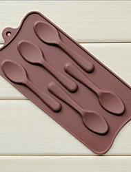 5 furos moldes forma colher bolo de gelo geléia de chocolate, silicone 22,5 × 10,5 × 1 cm (8,9 × 4,1 × 0,4 cm)