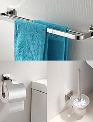 Недорогие -304 из нержавеющей стали 3 шт аксессуары для ванной комнаты бар установить полотенце и держатель туалетной щетки и держатель ткани