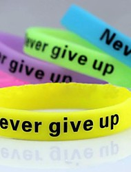 Lureme®Never Give Up Noctilucent Printing Silicone Wristband Bracelet(Random Color) Jewelry
