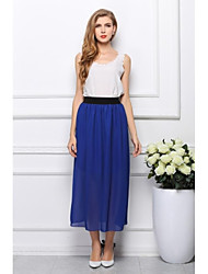 moda chiffon cor sólida vestido longo saia midi das mulheres (cores sortidas)