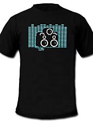 Tee-shirts LED Lampes LED activées par le son Coton Nouveauté 2 Piles AAA