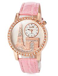 Недорогие -Жен. Модные часы Японский Кварцевый PU Группа Блестящие Эйфелева башня Черный Белый Красный Коричневый Розовый Фиолетовый