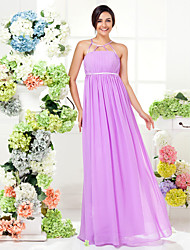 Sheath / Column Jewel Neck Floor Length Georgette Bridesmaid Dress with Draping Sash / Ribbon by LAN TING BRIDE®