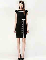 economico -abigail vestito da modo di colore di contrasto splicing