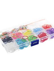 Недорогие -DIY цвета радуги стиль ткацкий станок резинкой упругие тканые браслеты прямоугольник небольшую коробку
