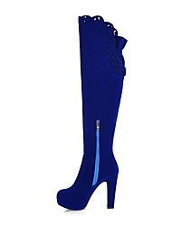 Women's Shoes Faux Suede Spring Fall Winter Stiletto Heel Over The Knee Boots Zipper For Dress Black Blue