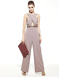 JOANNE KITTEN Women's Wide Leg Pink/Black/Gray Jumpsuits , Sexy/Bodycon/Casual/Work Sleeveless