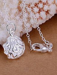 Недорогие -Жен. Ожерелья с подвесками Стерлинговое серебро Серебрянное покрытие Белый Серебряный Ожерелье Бижутерия Назначение