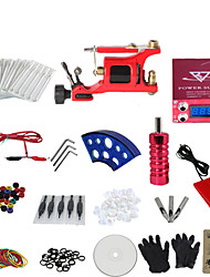 cheap -1 Gun Complete No Ink Tattoo Kit with Red Motor Machine and Lcd Screen Red Power Supply