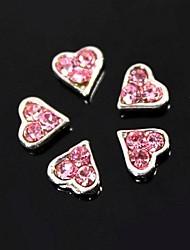 10pcs coeur rose en strass pour le bout des doigts accessoires bijoux art de la décoration des ongles