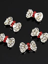Недорогие -10шт красный Gitter горный хрусталь луки связать 3d сплава украшения искусства ногтя
