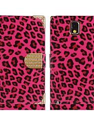 abordables -leopardo de piel sintética de impresión&caso del tirón de la aleación para Samsung Galaxy Note N9000 n9002 3 (colores surtidos)