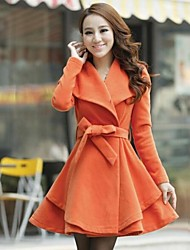Women's Fashion Pure Long Pleated Wool Coat with Belt
